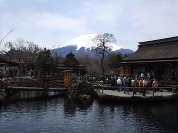 忍野八海から臨む富士山
