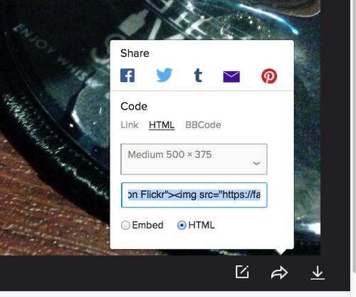 Flickrでimgタグの生成してシェア